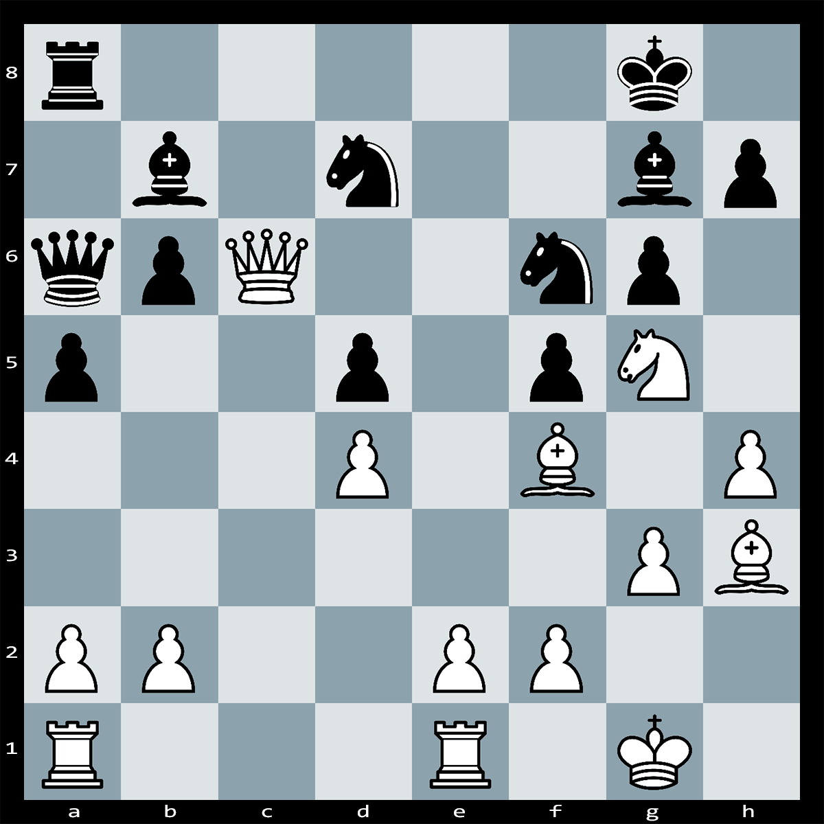 White can force checkmate in five moves. Can you see how this is achieved?